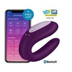 Vibratore Doppio con Applicazione Double Joy Purple